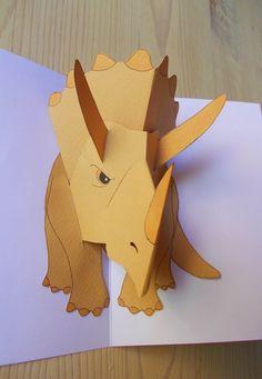 Four-eared bunny: Dinosauruskortti Boy Cards, Pop Up Cards, Kids Cards, Origami, Minecraft Birthday Card, Creative Birthday Cards, Dinosaur Cards, Paper Crafts For Kids, Vintage Paper Dolls
