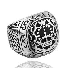 China manufacturer eco-friendly 316L stainless steel vintage religious cross ring jewelry in alibaba