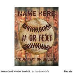 Personalized Wooden Baseball Wall Art CLICK: https://www.zazzle.com/z/ylsqa?rf=238012603407381242 Baseball Christmas Gifts for players and gifts for baseball coaches. Cool vintage baseball man cave gifts for him. Type in YOUR TEXT or delete. Wood baseball art will last for years and years. MORE personalized baseball gifts HERE: https://www.Zazzle.com/YourSportsGifts CALL Zazzle Designer Rod or Linda: 239-949-9090