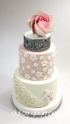 Giant modern rose and sequins by Silvia Caballero - http://cakesdecor.com/cakes/269422-giant-modern-rose-and-sequins