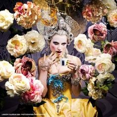 Let them drink coffee! Marie Antoinette style with flowers surrounding, house of flowers