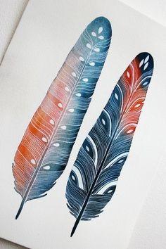 Идеи для декора: рисуем перья акварелью