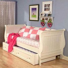 Have a spare bedroom or smaller bedroom space for your little girl.  These beautiful DayBeds looks great and saves on space!