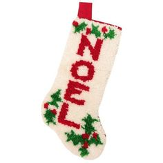 Latch Hook NOEL Christmas Stocking (€42) ❤ liked on Polyvore featuring home, home decor, holiday decorations, linens, christmas hooks, loop hook, christmas holiday decor, christmas stockings and red christmas stockings