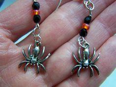 Halloween Spiders Dangle Earrings Doodaba Orange Earrings, Pearl Drop Earrings, Unique Necklaces, Unique Jewelry, Spider Earrings, Halloween Earrings, Rhinestone Belt, Halloween Spider, Black Crystals
