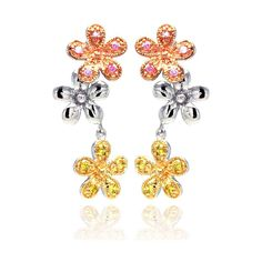 Sterling Silver Rhodium Plated Multicolor Flower CZ Dangling Stud Earring bge00187