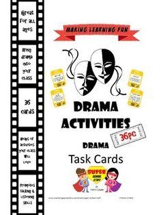 Free task card resource for drama