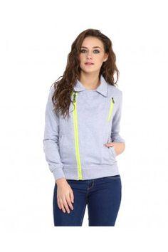 Grey Stephy Biker Sweatshirt for Women #womensfashion #winterwear #sweatshirts
