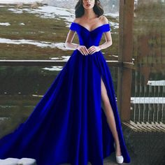 Long Prom Dress Prom Dresses Prom Dress 2019 Prom Dress For Cheap Prom Dresses Long Split Prom Dresses, Royal Blue Prom Dresses, Prom Dresses 2018, Cheap Prom Dresses, Satin Dresses, Dress Prom, Prom Gowns, Dress Long, Ball Gowns