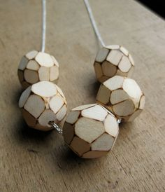 faceted WOOD bold chain beaded necklace by ballandchain on Etsy, $30.00
