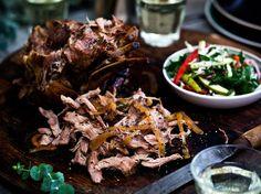 Slow-Roasted Pork Leg Recipe with Pomegranate Slaw - Viva