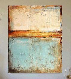 Teal & orange abstract art