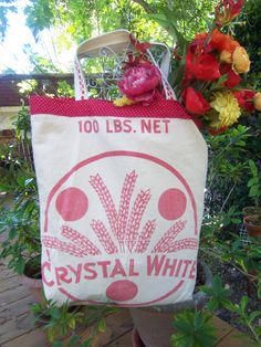 Upcycled vintage flour sack purse or grocery bag.