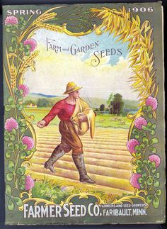 Farmer Seed Co - Farm And Garden Seeds, Glossy Art Print Taken From A Beautifully Illustrated Vintage Seed Catalogue Or Seed Packet Cover. Garden Catalogs, Seed Catalogs, Flower Catalogs, Vintage Labels, Vintage Posters, Vintage Cards, Vintage Clip, Vintage Paper, Vintage Signs