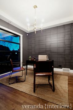 veranda interiors: Altadore I {Office / Mud Room / Stairs} Millwork detail on the wall!