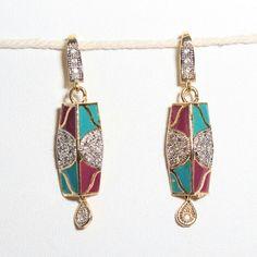 long shape  multicolor mina work earring