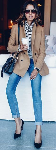 Classic camel pea coat, striped turtleneck, Parisian style