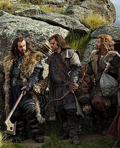 Thorin and his nephews, Kili and Fili. My 3 favorite dwarves from the Hobbit movie!