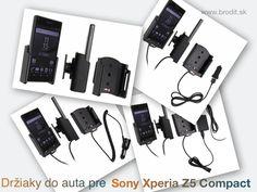 Nové držiaky do auta pre Sony Xperia Z5 Compact. Pasívny držiak Brodit pre pevnú montáž v aute, aktívny s CL nabíjačkou, s USB alebo s Molex konektorom.