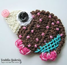 Crochet pattern - hedgehog applique, DIY
