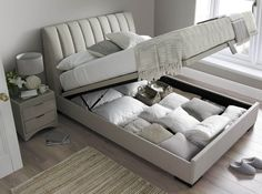 The Lanchester Ottoman Storage bed is upholstered in Elephant Grey. Choose from double or a king size bed. Price match service with FREE UK delivery. Ottoman Storage Bed, Ottoman Bed, Bed Storage, Bedroom Storage, Storage Organization, Fabric Ottoman, Beds With Storage, Bed Designs With Storage, Storage Area