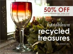 50% off select recycled glassware sets, Today Only! #cybermonday #sustainable #bambeco