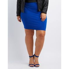Charlotte Russe Bodycon Mini Skirt ($14) via Polyvore featuring plus size women's fashion, plus size clothing, plus size skirts, plus size mini skirts, cobalt, mini skirt, body con skirt, short mini skirts, pencil skirt and charlotte russe