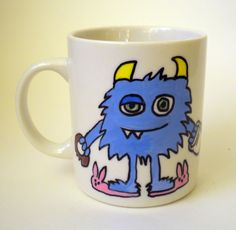 Hand Painted Ceramic Coffee Mug Blue Monster.