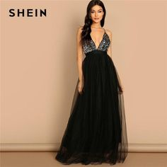 cd425c092021 SHEIN Black Crisscross Back Sequin Bodice Mesh Halter Deep V Neck Fit and  Flare  fashion