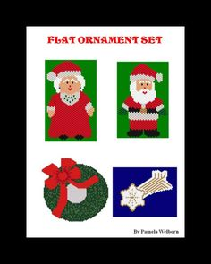 Flat Ornament Set - 12 ORNAMENTS  Beading Patterns - Instant Downloadable Pattern by Violetbead on Etsy