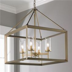 Modern Geometry 4-Light Chandelier Available in 2 Colors: Gunmetal Bronze, White…