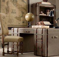 I like this steampunk office.