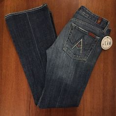 7FAM Seven 7 For all Mankind Womens Sz 27 'A' Pocket Crops in Caribbean Extreme…