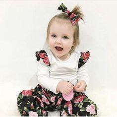 Baby 3 pcs Set Cotton Long Sleeve T-shirt + Flower Pants + Headband Outfit Set T Shirt Flowers, Flower Shirt, Baby Girl Newborn, Baby Girls, Baby Girl Patterns, Baby Suit, Floral Pants, Costume, Bandeau