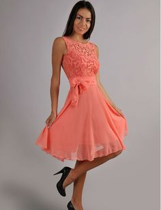 Evening Coral Dress Chiffon ,Sleeveless Dress Lace ,Cute  Dress bridesmaid by Dioriss on Etsy https://www.etsy.com/listing/208757719/evening-coral-dress-chiffon-sleeveless