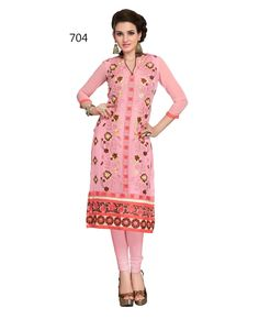 Buy Fency Red Color Georgette 3/4 Sleeves Knee Length Semi Stitched Casual Wear Kurti Online - Indian Wear