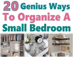 20 Genius Ways to Organize a Small Bedroom. If you have a small bedroom, then I'm sure you know that it can be hard to stay organized. I know I do but I'm so grateful I found these great home organization hacks that help me declutter my home. Small Bedroom Organization, Home Organization Hacks, Bathroom Organisation, Closet Organization, Bedroom Storage, Kitchen Organization, Organization Ideas, Boys Bedroom Decor, Trendy Bedroom