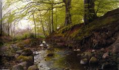 Peder Mork Monsted >> Vandlob I Skoven  |  (Oil, artwork, reproduction, copy, painting).