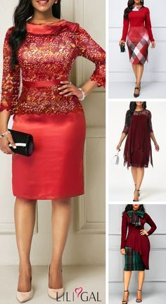 Classy red holiday dress outfit ideas, worldwide and Red Holiday Dress, Holiday Dresses, Latest African Fashion Dresses, African Print Fashion, Modest Dresses Casual, Club Party Dresses, African Attire, Classy Dress, Beautiful Dresses