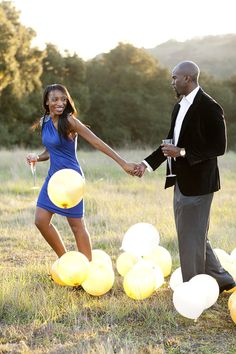 Champagne and Balloon Engagement Session