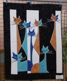 Cat Quilt Patterns, Quilt Modernen, Animal Quilts, Cat Crafts, Cat Drawing, Diy Canvas, Applique Quilts, Whimsical Art, Cat Art