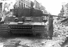 One of the six Tiger 1./schwere SS-Panzer-Abteilung 101 knocked out in Villers-Bocage 14 June 1944. On the left, a Panzer IV lang also destroyed.