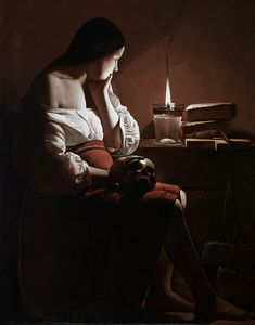 Georges de la Tour, wrote a story that went along with this painting in a HS art class.  Happy memories stumbling across it on pinterest.