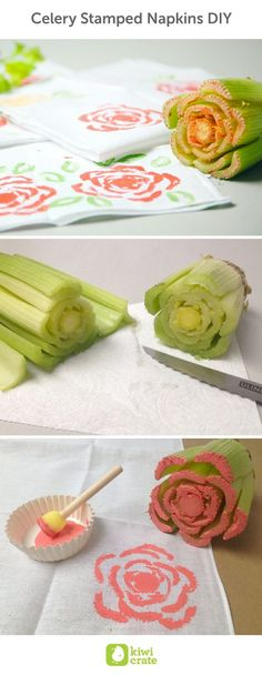 Celery Stamped Napkins DIY. This year, get ready for Mother's Day brunch by making personalized napkins. You can create your very own stamped napkins with a stalk of celery! The end result is a one-of-a-kind Mother's Day gift. You can also try out different vegetable patterns such as bell peppers, okras, or lotus roots. Food. DIY. Stamps. Crafts. Activities. For Kids. Ideas. Snacks. Easy. Cards. Spring.