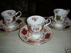 China teacups - 3 in Trendy's Garage Sale in Holland , MI for $100.00. ANTIQUE Fine Bone China. Very beautiful. Very good condition. 3 teacups & 3 saucers