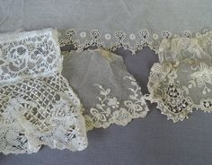 Group of Antique Lace Remnants from Victorian Edwardian Clothing, Vintage Lace Scrap Lot by dandelionvintage on Etsy