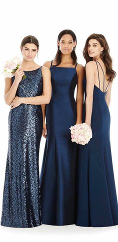 Sleek and Sparkles Navy Mismatched Bridesmaid Dresses - The Dessy Group