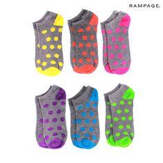 6 Pairs: Rampage Polka Dot Ankle Socks $7.00 Our Price