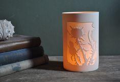 Thistle (12 x 8cm) Sauna House, Tea Light Holder, Paper Cutting, Tea Lights, Planters, Porcelain, Ceramics, Pure Products, Mugs