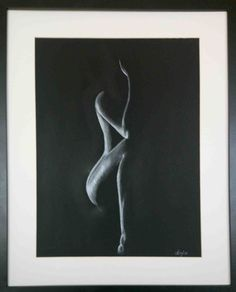 White charcoal on black paper, by Anfia